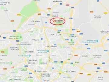 Mapa de donde ha tenido lugar el socavón