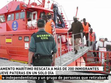 Más de 200 inmigrantes rescatados en el Estrecho de Gibraltar y en el mar Alborán