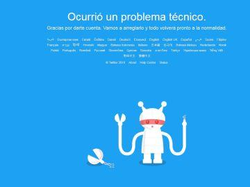 La información de la página de Twitter tras caerse