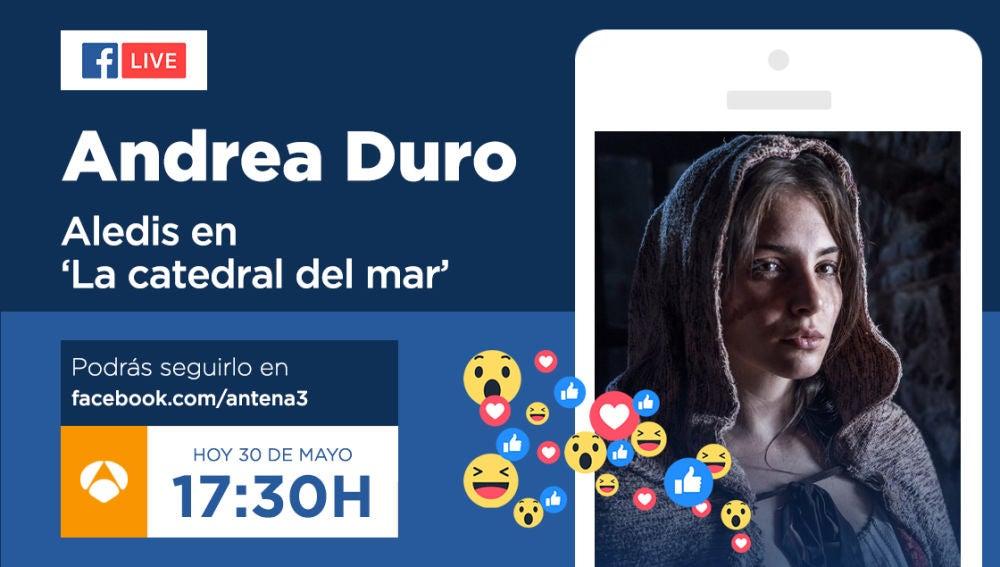 Envía tus preguntas para el Facebook Live de Antena 3 con Andrea Duro, esta tarde a las 17:30 horas