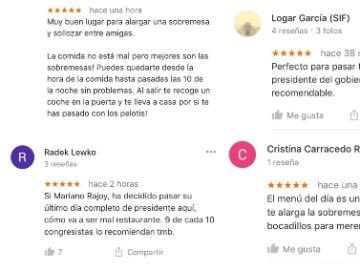 Críticas al restaurante en el que Mariano Rajoy pasó su última tarde como presidente