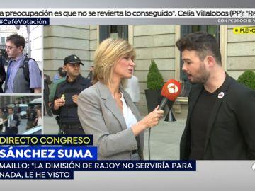 """Gabriél Rufián: """"Con la salida de Rajoy de la Moncloa se terminará una de las etapas más negras de este país"""""""