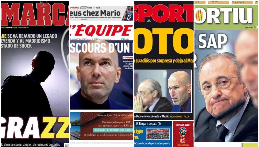 Las portadas recogen el adiós de Zidane