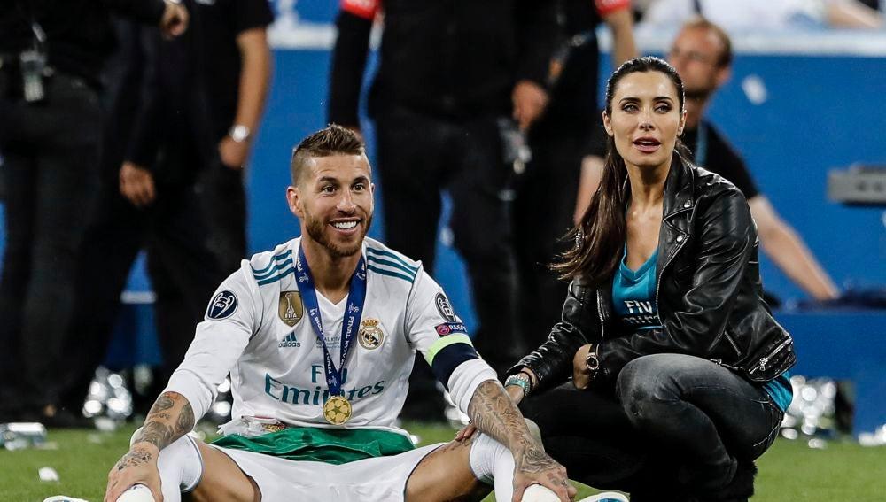 Pilar Rubio y Sergio Ramos tras ganar el Real Madrid la decimotercera Champions League