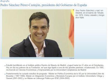 Biografía Pedro Sánchez en la web de Moncloa
