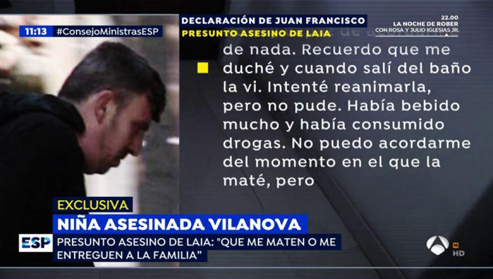 Declaración del presunto asesino de una menor en Vilanova