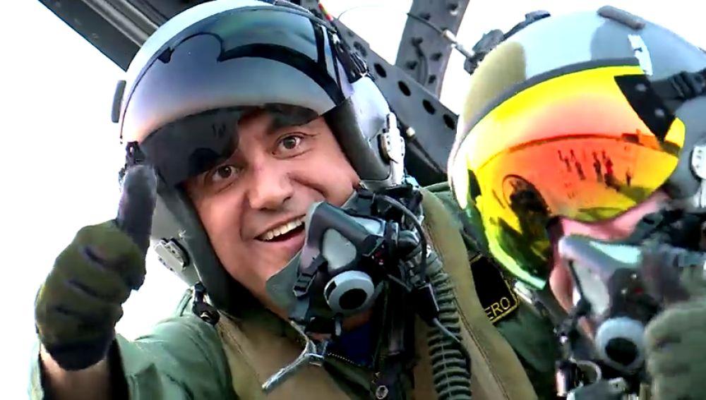 Roberto Brasero se empotra en un caza del Ejército del Aire