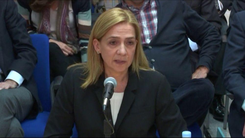 La declaración de la infanta Cristina en el juicio