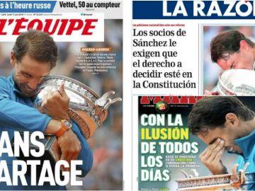 Rafa Nadal, protagonista de la prensa por su undécimo Roland Garros