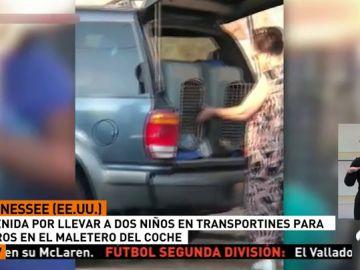 Detienen a una madre que llevaba a sus hijos en un transportin de animales en el maletero de su coche