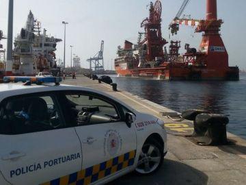 Un coche de la Policía Portuaria