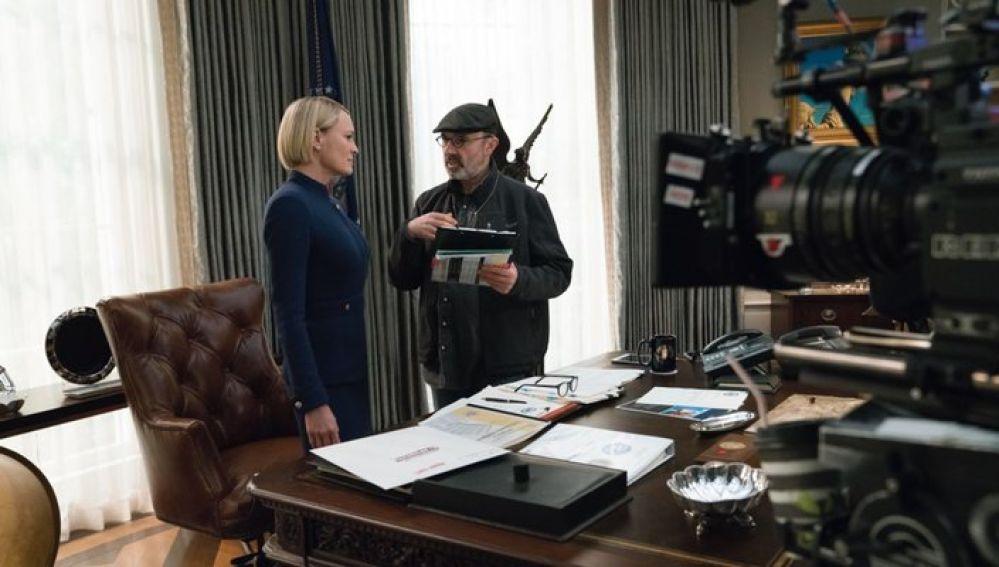 Robin Wright en el rodaje de 'House of cards'