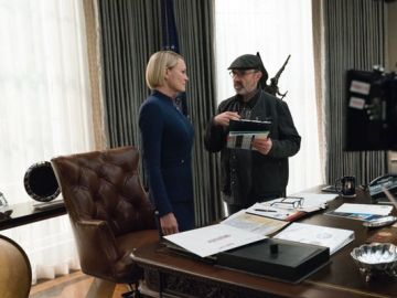Robin Wright en el rodaje de 'House of cards'