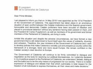 Fragmento de la carta remitida a las autoridades europeas.