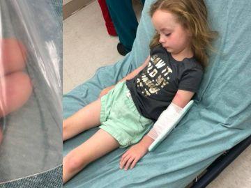 La niña en la cama del hospital
