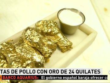 Un restaurante de Nueva York crea unas alitas de pollo con oro de 24 quilates
