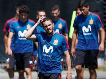 Koke, en el entrenamiento de España en Krasnodar