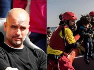 Pep Guardiola y miembros de la ONG ProActiva Open Arms