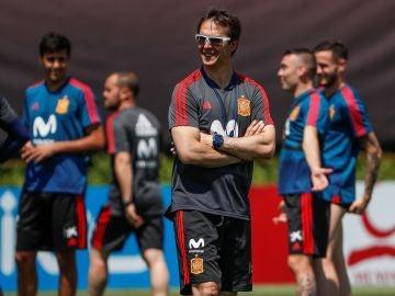Julen Lopetegui, durante un entrenamiento de la Selección