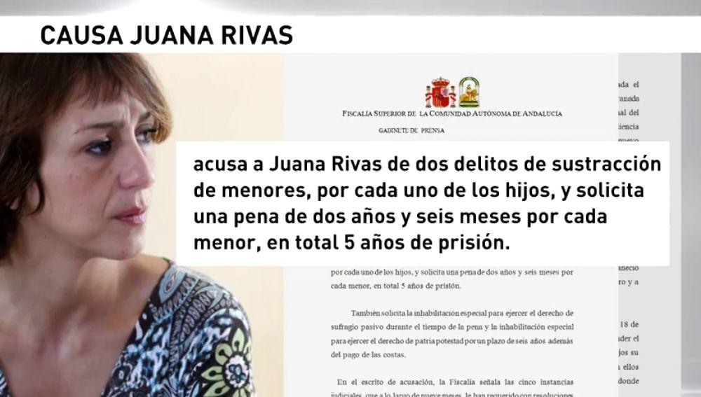 El fiscal pide cinco años de cárcel para Juana Rivas por sustracción de menores