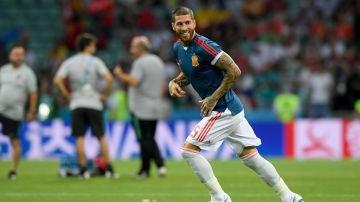 Sergio Ramos entrena con la selección española de fútbol