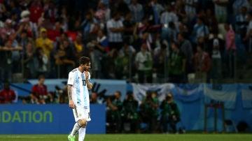 Leo Messi, durante el partido contra Croacia