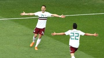 'Chicharito' Hernández celebra su gol contra Corea