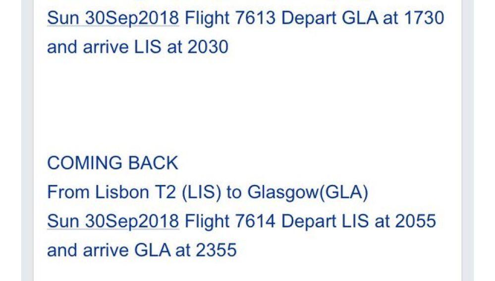 Billetes de avión con 25 minutos de diferencia