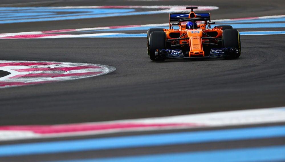 Fernando Alonso, durante la clasificación del GP de Francia