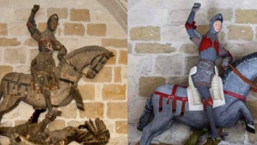 El antes y el después de la escultura de San Jorge en la iglesia de San Miguel de Estella