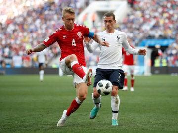 Griezmann, en el choque ante Dinamarca