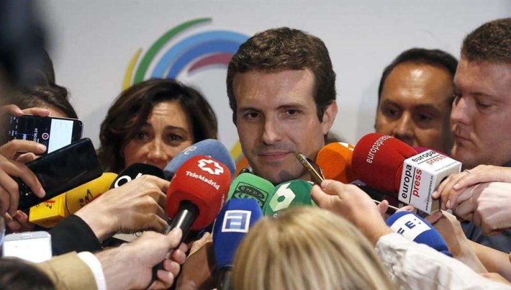 El candidato a la Presidencia del PP, Pablo Casado