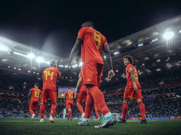 Selección belga en el partido ante Japón