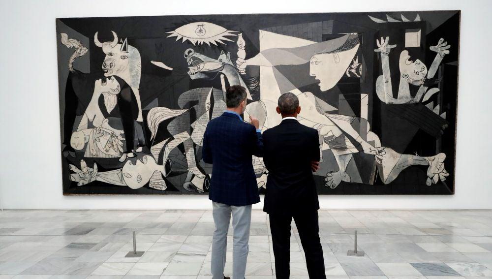 """El Rey acompaña a Obama en una visita al Reina Sofía centrada en el """"Guernica"""""""
