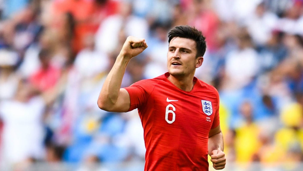 Maguire celebra un gol con Inglaterra