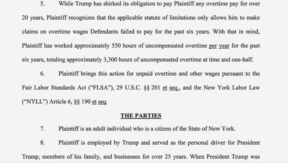 El antiguo chófer de Trump le demanda por no haberle pagado las horas extra