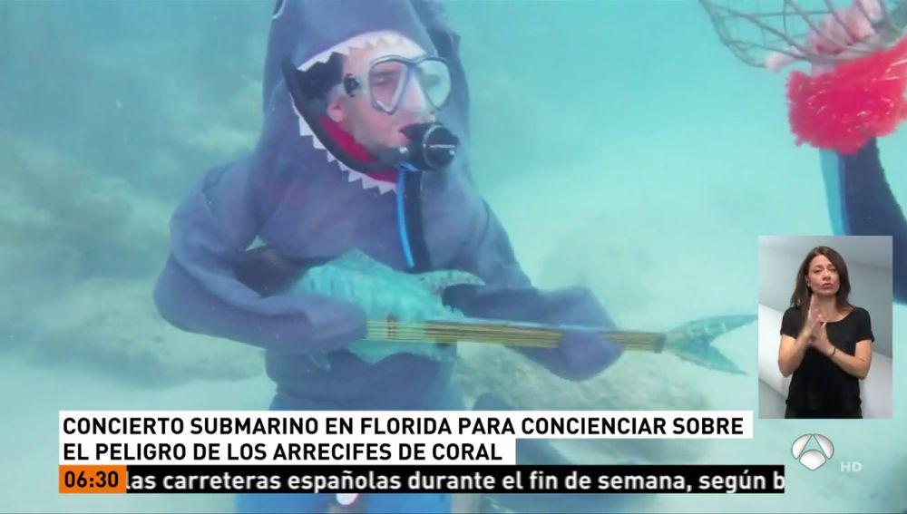 Concierto submarino en Florida para concienciar sobre el peligro de los arrecifes