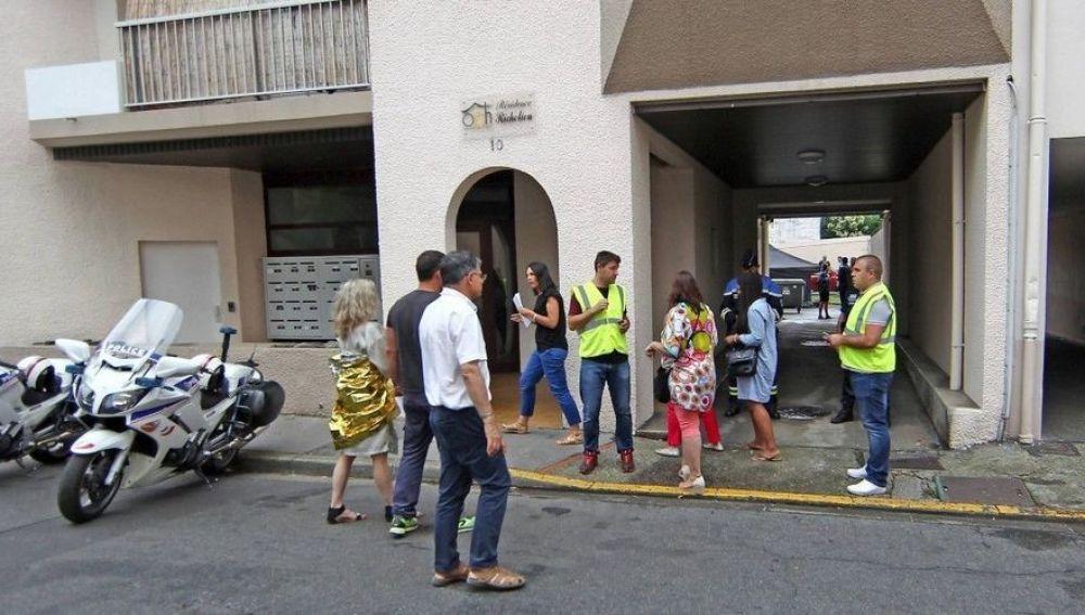Imagen del edificio de Pau donde se ha producido el incendio