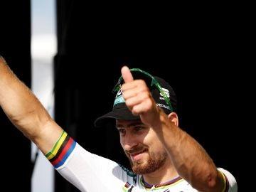 Sagan celebrando su victoria de etapa