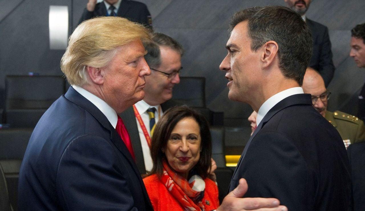 El jefe del Gobierno español, Pedro Sánchez, y el presidente de Estados Unidos, Donald Trump