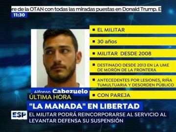El militar de 'La Manada' podrá reincoorporarse al servicio al levantar Defensa su suspensión