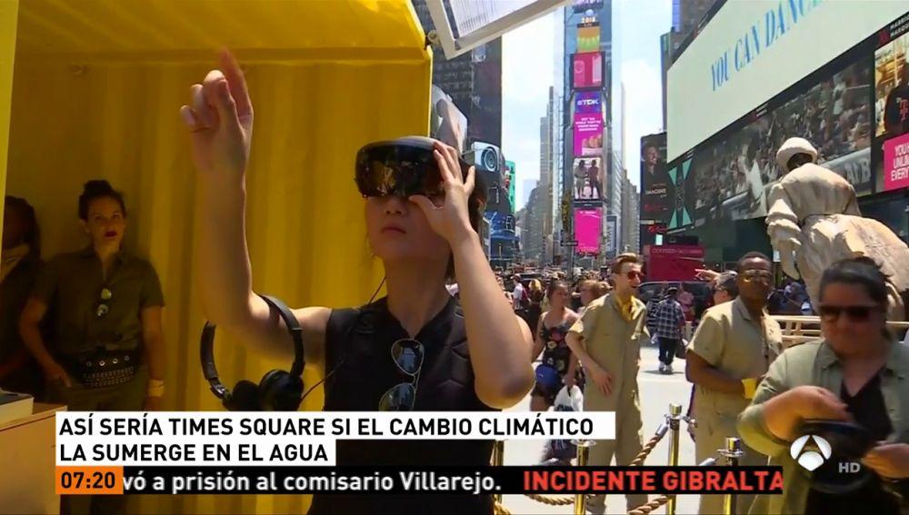 Así se verá la plaza de Times Square si el cambio climático la sumerge en el mar
