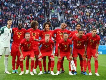 Selección belga antes de jugar contra Francia