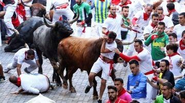 Un toro de la ganadería sevillana de Miura arrastra a un mozo a su paso por el tramo de Telefónica