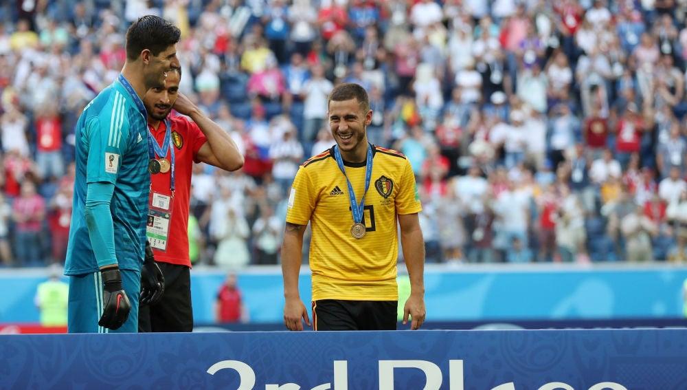 Courtois y Hazard tras el Bélgica vs Inglaterra