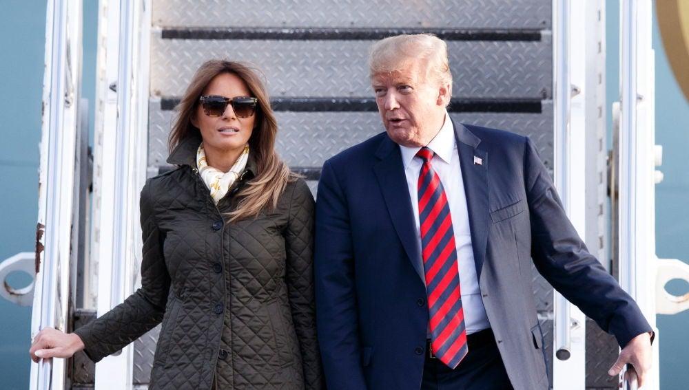 Donald y Melania Trump llegan a Escocia