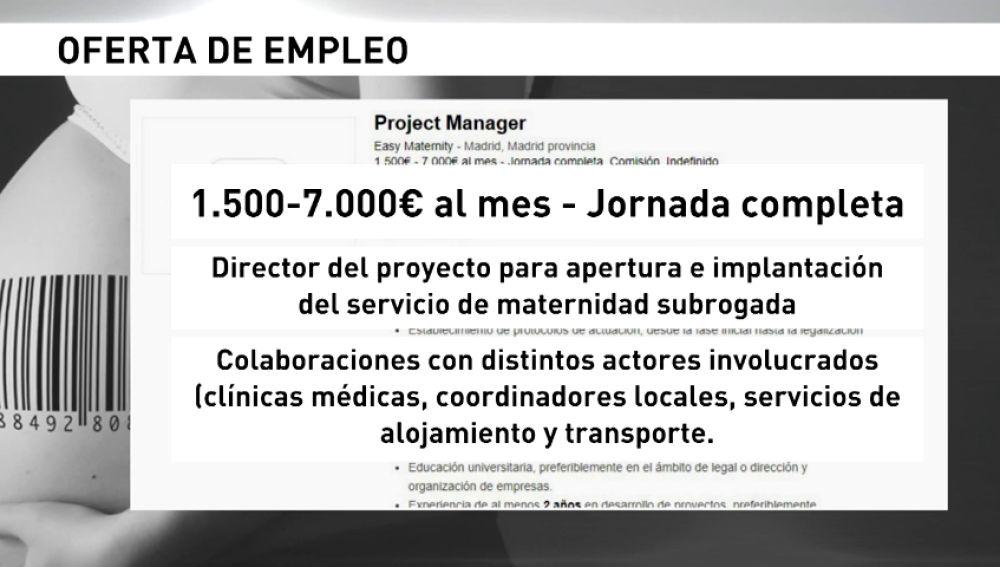 Inspección de Trabajo investiga un anuncio que busca director para la apertura de un servicio de maternidad subrogada en Madrid