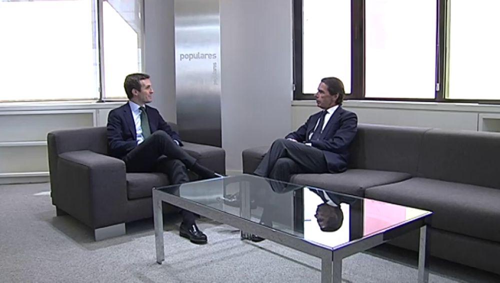 Pablo Casado recibe hoy a José María Aznar en la sede del Partido Popular