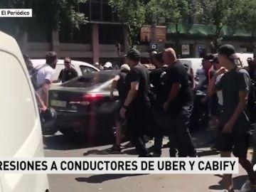 """El sector del taxi califica de """"histórica"""" la movilización para defender la limitación de vehículos VTC en Barcleona"""