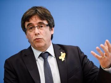 Carles Puigdemont en rueda de prensa desde Berlín